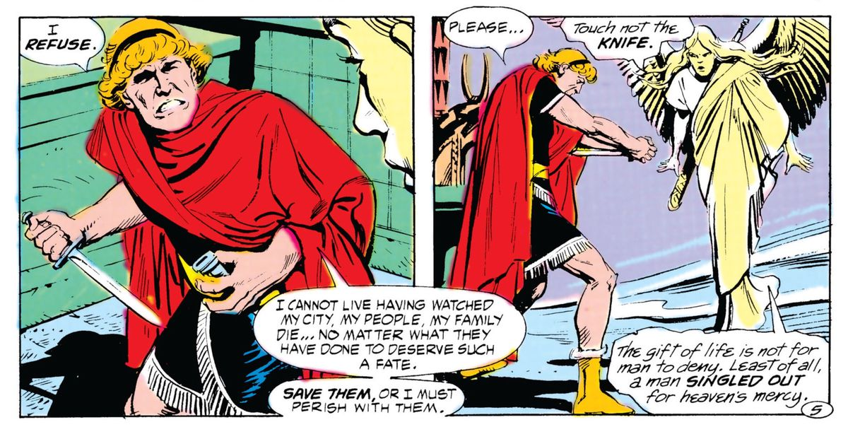 The Phantom Stranger, still mortal, refuses God's mercy and readies himself to commit suicide, as an angel commands him to stop, in Secret Origins #10, DC Comics (1987).