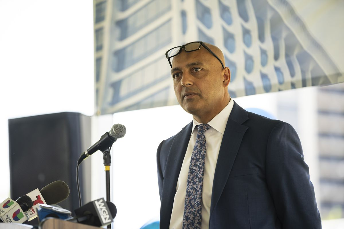 Insight founder Dr. Jawad Shah speaks at a dedication ceremony June 4, 2021, outside Insight Hospital and Medical Center, 2525 S. Michigan Ave. in Bronzeville.