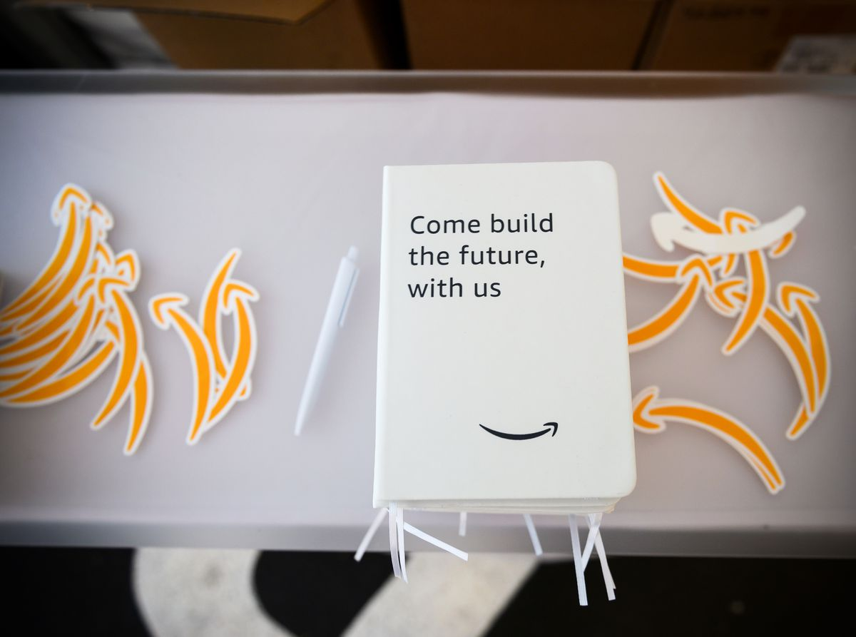 Promotional material during an Amazon Career Day event.