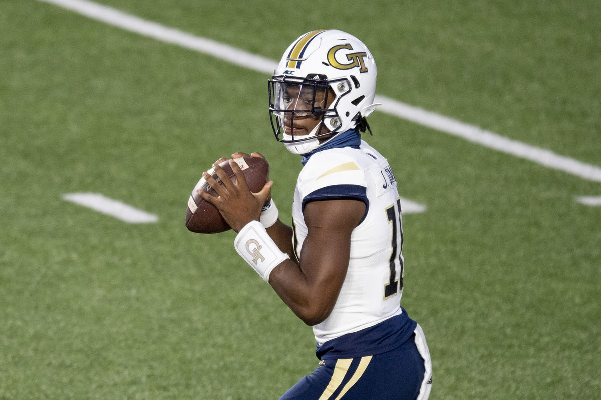 Jeff Sims #10 of the Georgia Tech Yellow Jackets looks to pass during the second half at Alumni Stadium on October 24, 2020 in Chestnut Hill, Massachusetts.