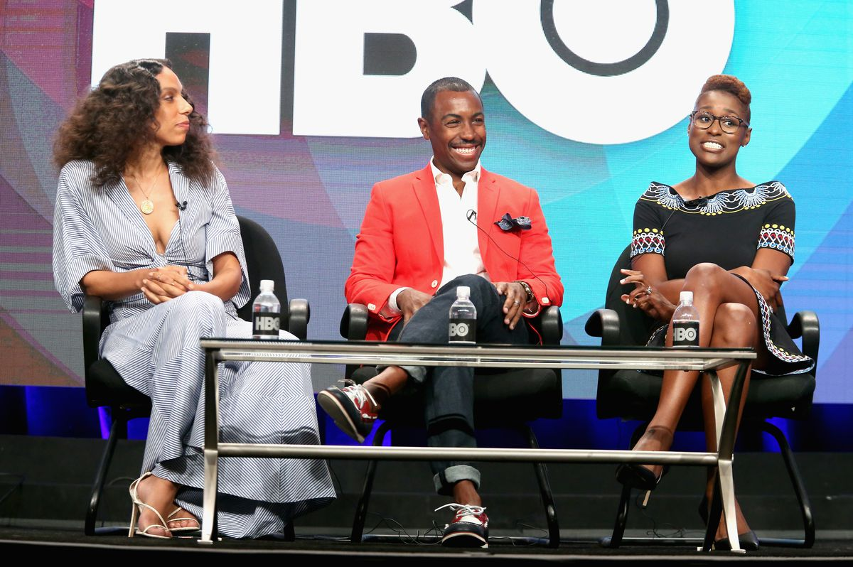 Insecure director Melina Matsoukas, showrunner Prentice Penny, and creator, star, writer, and producer Issa Rae.