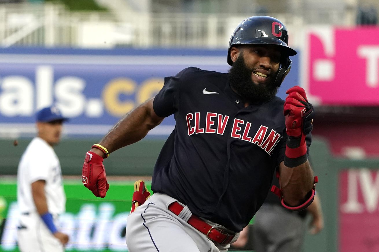 Amed Rosario #1 of the Cleveland Indians runs the bases during an inside-the-park home run in the first inning against the Kansas City Royals at Kauffman Stadium on August 31, 2021 in Kansas City, Missouri.