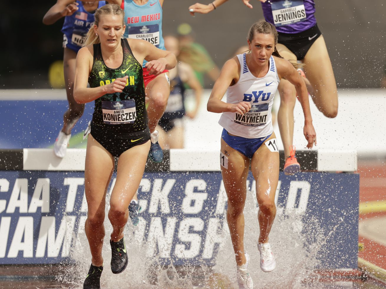 BYU's Courtney Wayment competes in the steeplechase at the NCAA Track and Field Championships in Eugene, Oregon.
