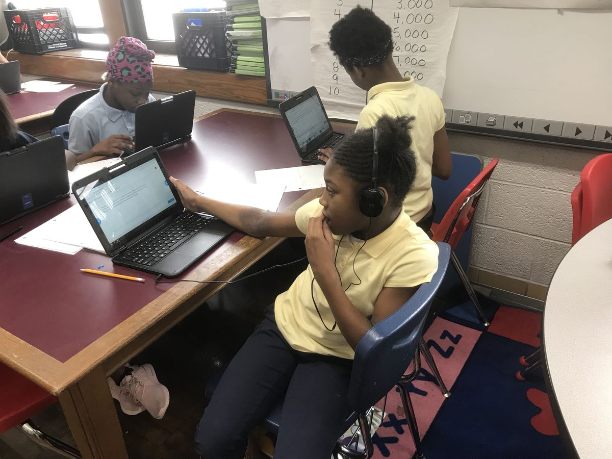 Students at Bagley Elementary School of Journalism and Technology work on a project.