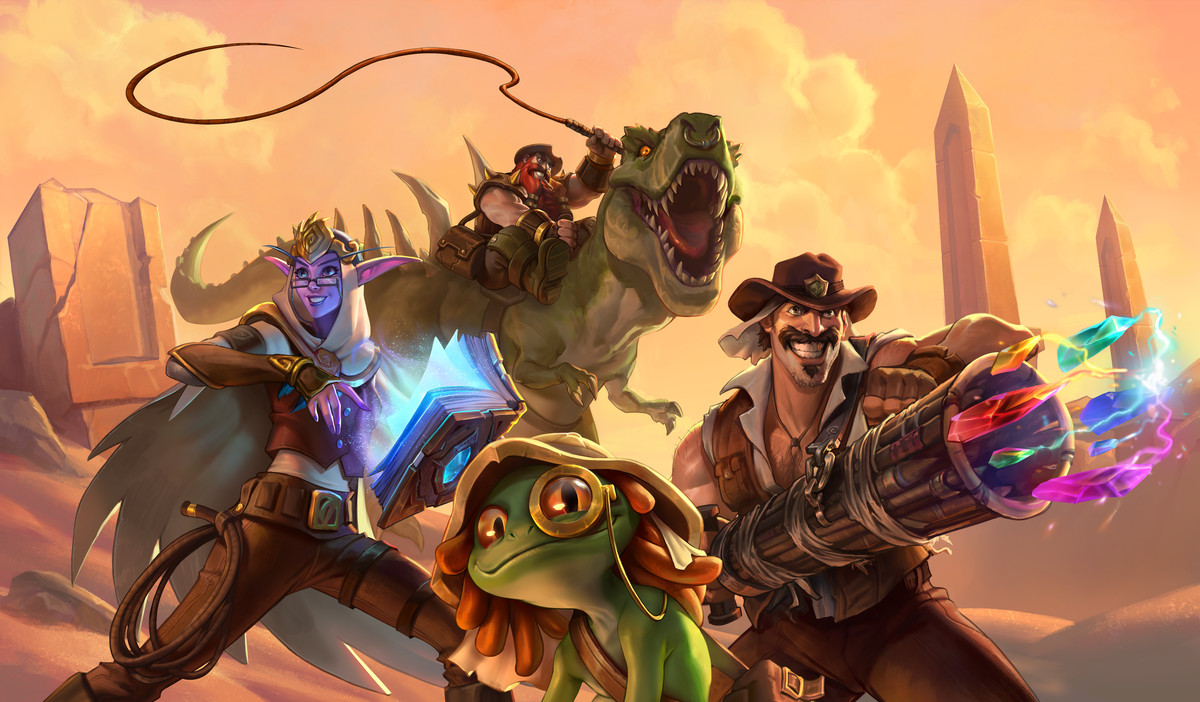 Hearthstone - The assembled League of Explorers - an elf with a magical tome, a murloc with a monocle, a dwarf on a dinosaur with a whip, and a man with a cannon shooting colorful crystals.