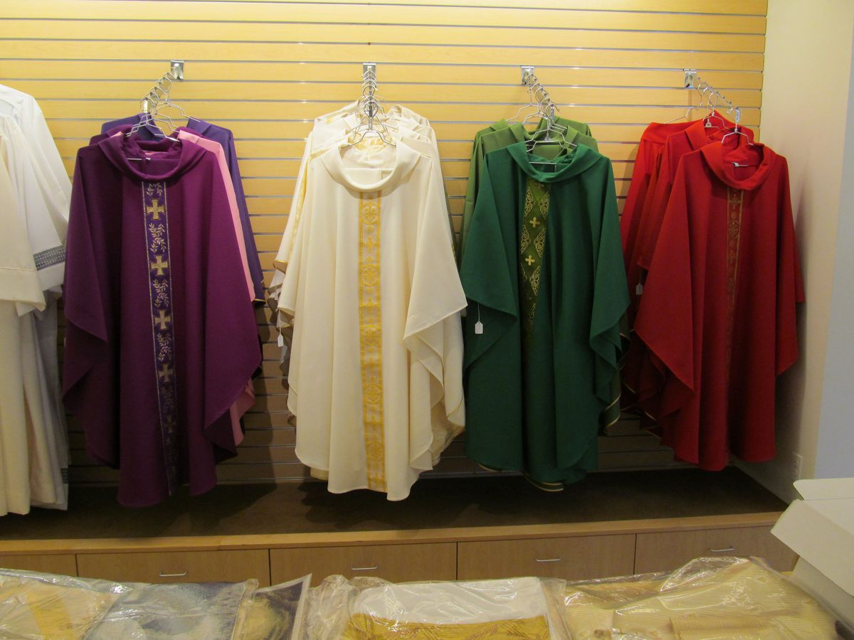Sister Clare sews chasubles for the clergy in just a few days.