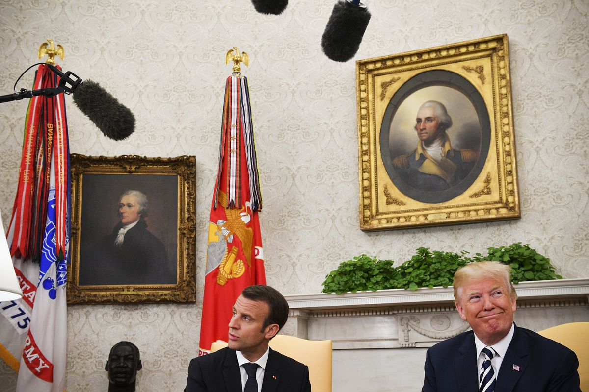 President Trump and President Macron speak to the media before their meeting in the Oval Office on April 24, 2018.