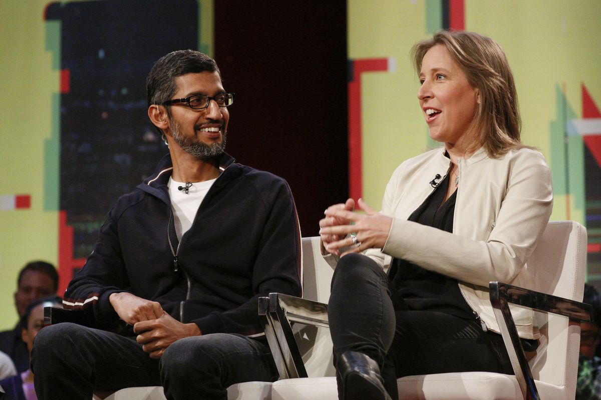 Photo of Google CEO Sundar Pichai and YouTube CEO Susan Wojcicki during Recode and MSNBC's Revolution town hall.
