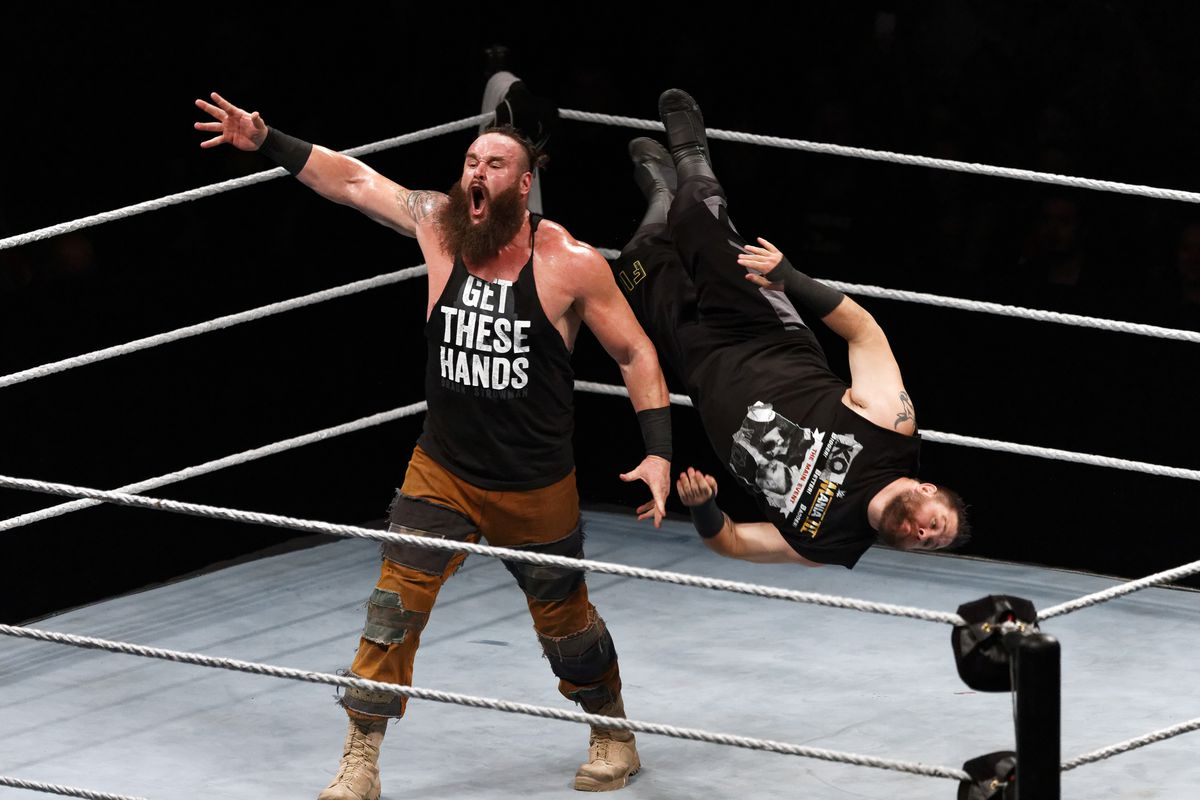 Braun Strowman in action vs Kevin Owens during WWE Live AccorHotels Arena Popb Paris Bercy on May 19, 2018 in Paris, France.