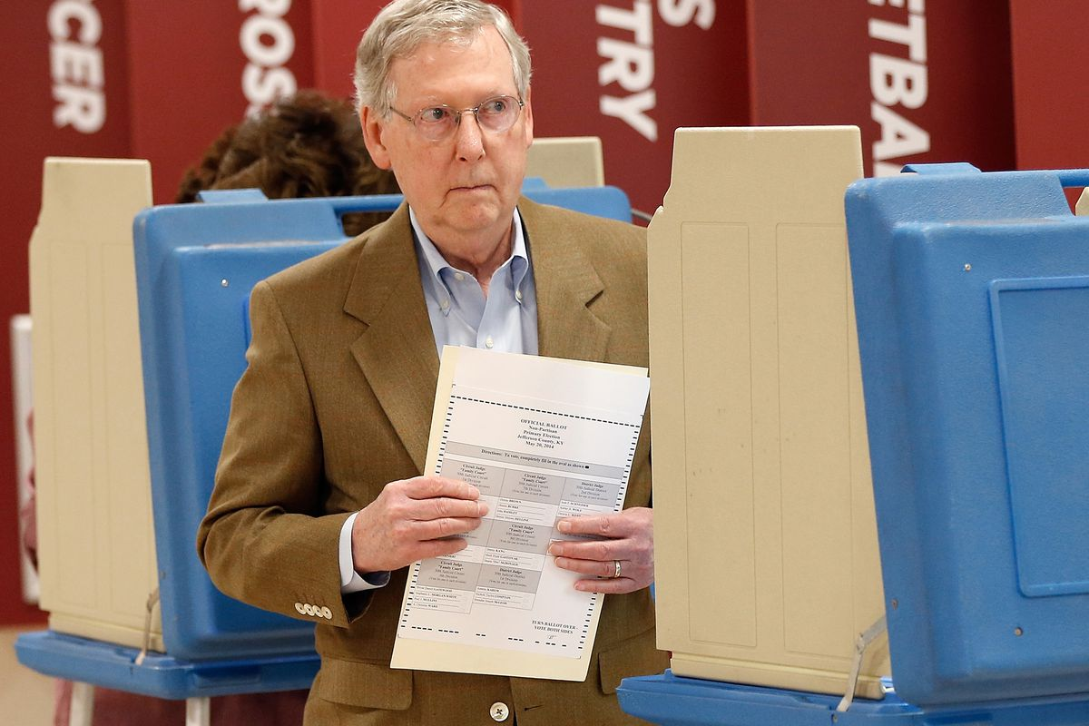 Mitch McConnell votes in Kentucky today.