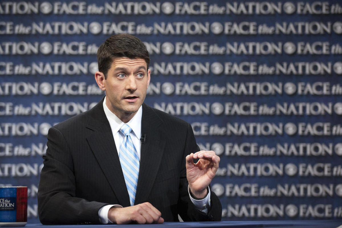 """In this photo provided by CBS News, House Budget Chairman Paul Ryan, R-Wis., speaks during CBS's """"Face the Nation"""" Sunday, March 25, 2012, in Washington."""