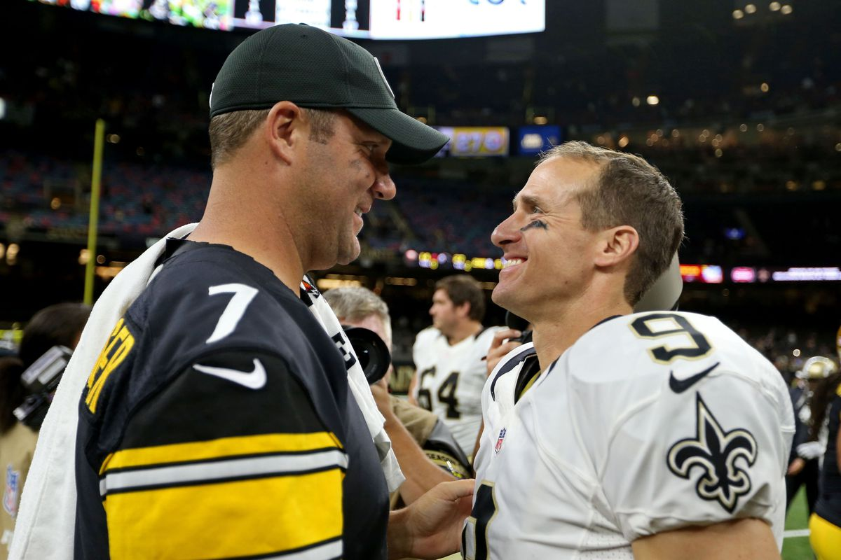 Pittsburgh Steelers head quarterback Ben Roethlisberger talks to New Orleans Saints quarterback Drew Brees after their game at the Mercedes-Benz Superdome.