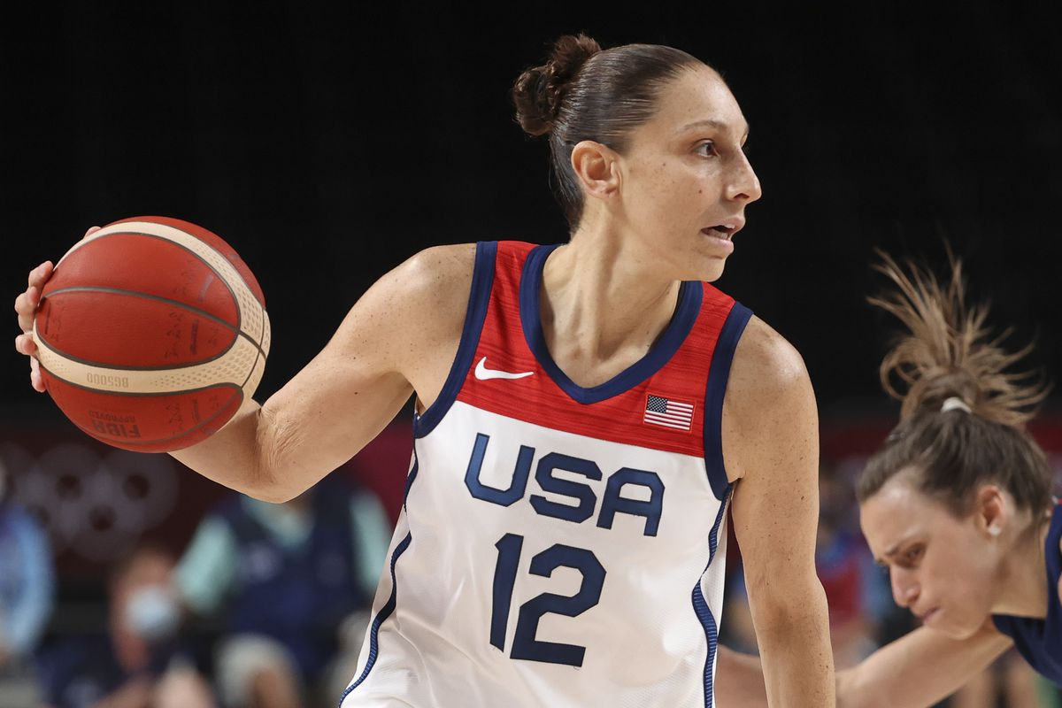 Diana Taurasi of USA during the Women's Semifinal Basketball game between United States and Serbia on day fourteen of the Tokyo 2020 Olympic Games at Saitama Super Arena on August 6, 2021 in Saitama, Japan