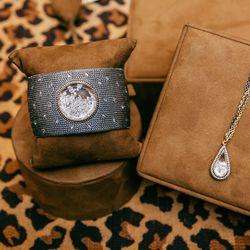 <b>Moritz Glik</b> diamond cuff, $12,875. Diamond teardrop necklace, $4,440.