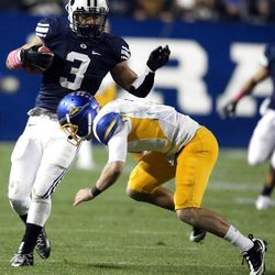 Brigham Young Cougars linebacker Kyle Van Noy (3) runs past San Jose State Spartans quarterback Matt Faulkner (7) after intercepting a pass San Jose State BYU during the first half of a football game at the Lavell Edwards Stadium in Provo on Saturday, Oct. 8, 2011.