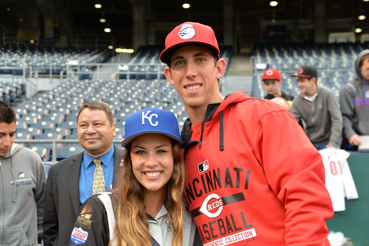 Michael Lorenzen pictured with Johnny Cueto.