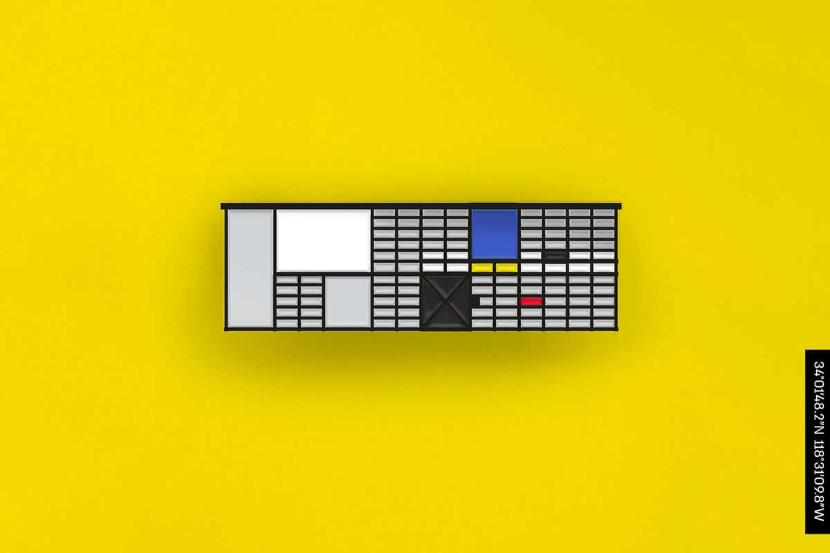 A rectangular enamel pin depicting the Eames House facade made up of glass panels, some of various colors like blue and red.