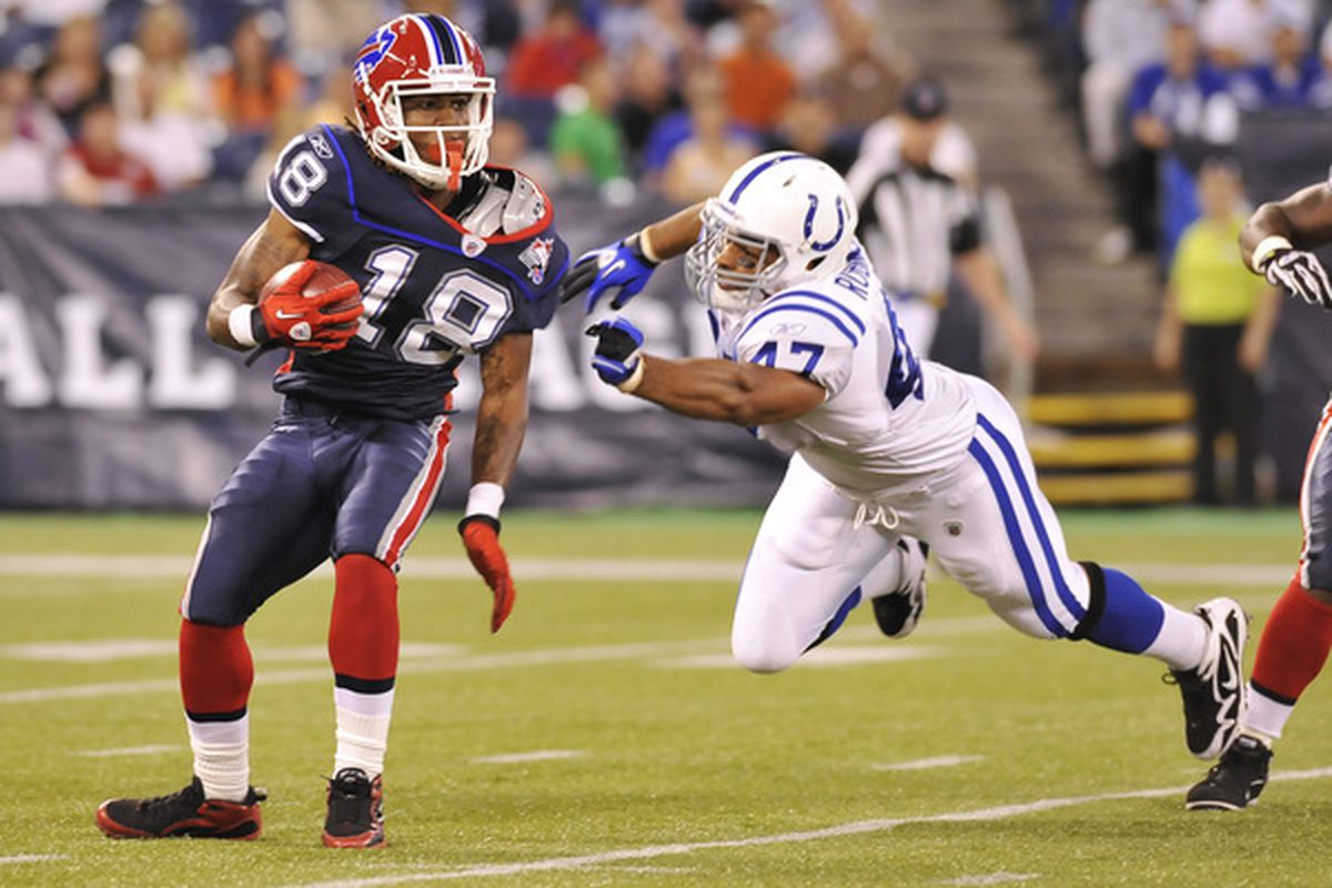 TORONTO - AUGUST 19:  Naaman Roosevelt #18 of the Buffalo Bills avoids the takle of Gijon Robinson #47 of the Indianapolis Colts during game action August 19 2010 at the Rogers Centre in Toronto Ontario Canada. (Photo by Brad White/Getty Images)