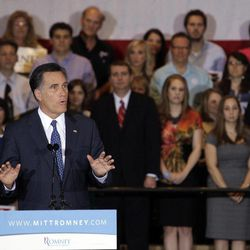 Republican presidential candidate, former Massachusetts Gov. Mitt Romney speaks at his election night rally in Schaumburg, Ill., Tuesday, March 20, 2012. Romney won Illinois primary.