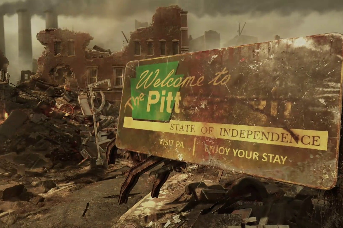 """a """"Welcome to The Pitt State of Independence"""" sign in Fallout 76"""