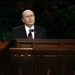 Elder Quentin L. Cook speaks during the morning session of the182nd Semiannual General Conference for The Church of Jesus Christ of Latter-day Saints in the Conference Center in Salt Lake City on Saturday, Oct. 6, 2012.