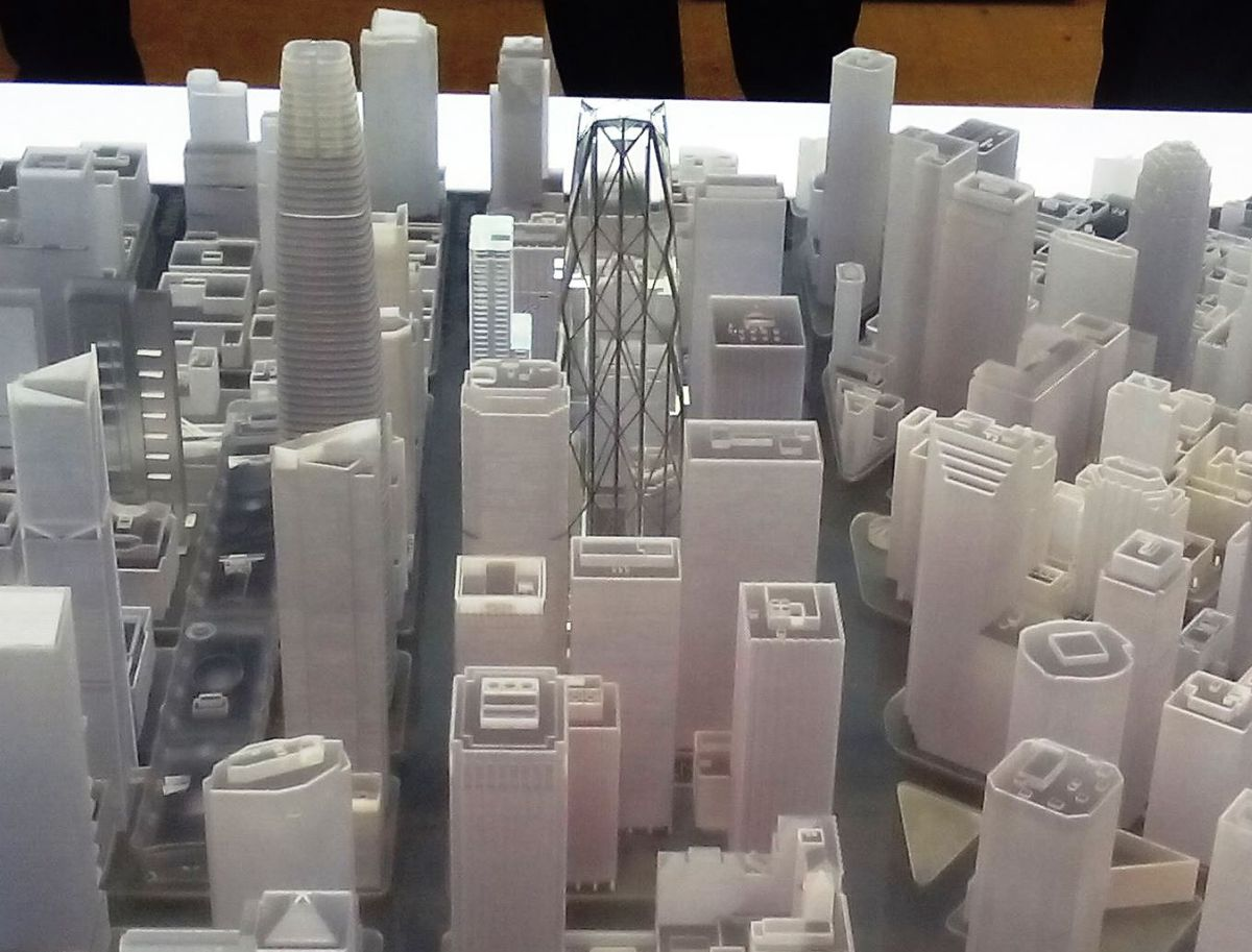 A scale model of the Oceanwide Center tower.