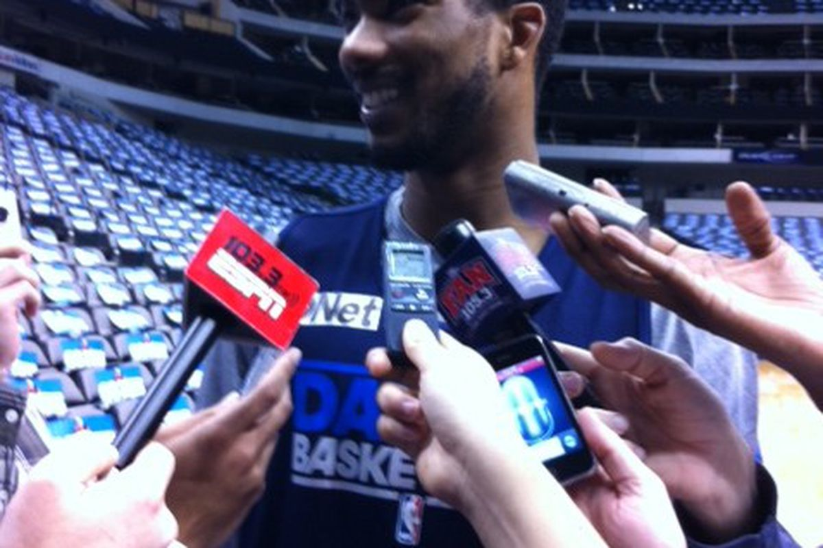 Your first look at the newest Maverick, Corey Brewer (credit to Brad Townsend)