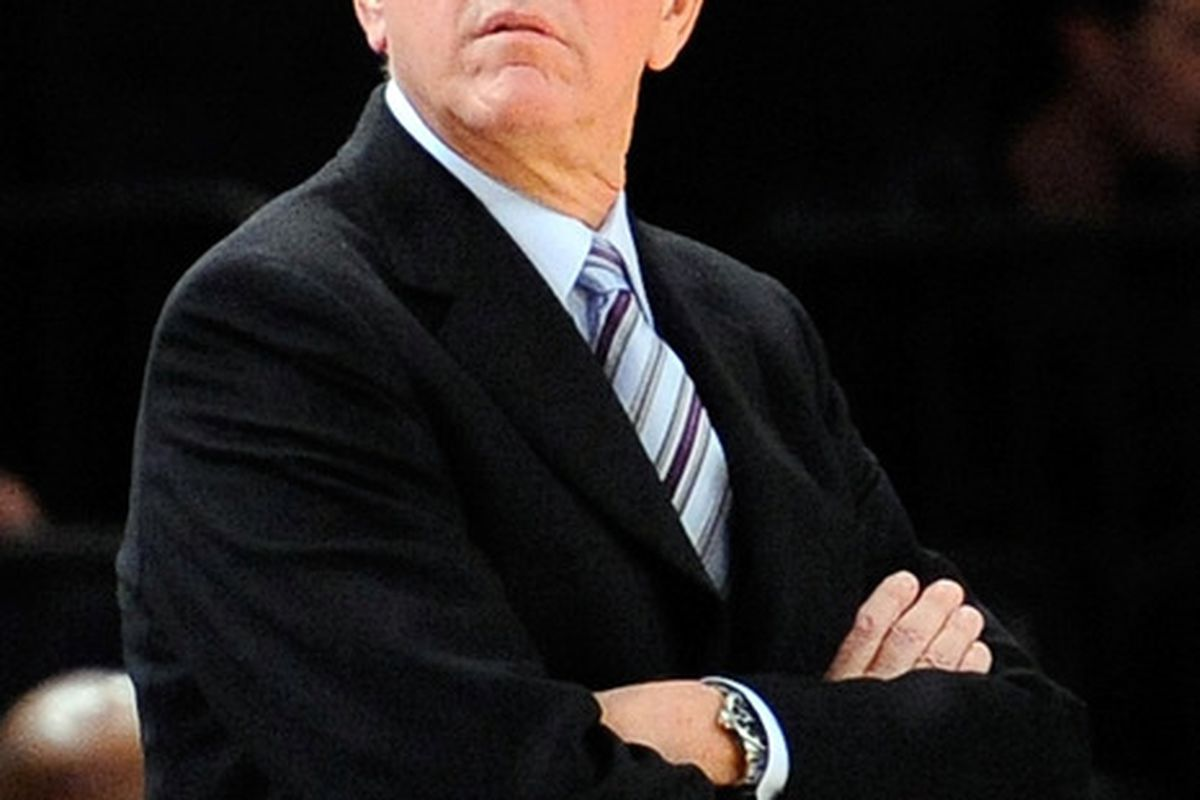 Head coach Jim Boeheim of the Syracuse Orange reacts against the Virginia Tech Hokies during the 2011 Dick's Sporting Goods NIT Season Tip-Off at Madison Square Garden on November 23, 2011 in New York City.  (Photo by Patrick McDermott/Getty Images)
