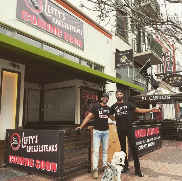 Eljahimi and Abbas in front of the 5th Avenue Lefty's restaurant