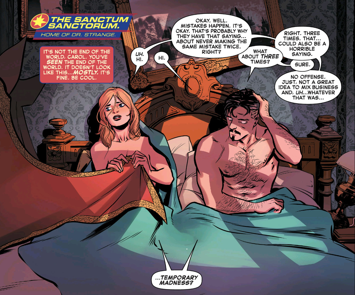 Captain Marvel and Doctor Strange wake up next to each other in his bed. She covers herself with his cape. They both agree that this was temporary madness, in Captain Marvel #27, Marvel Comics (2021).