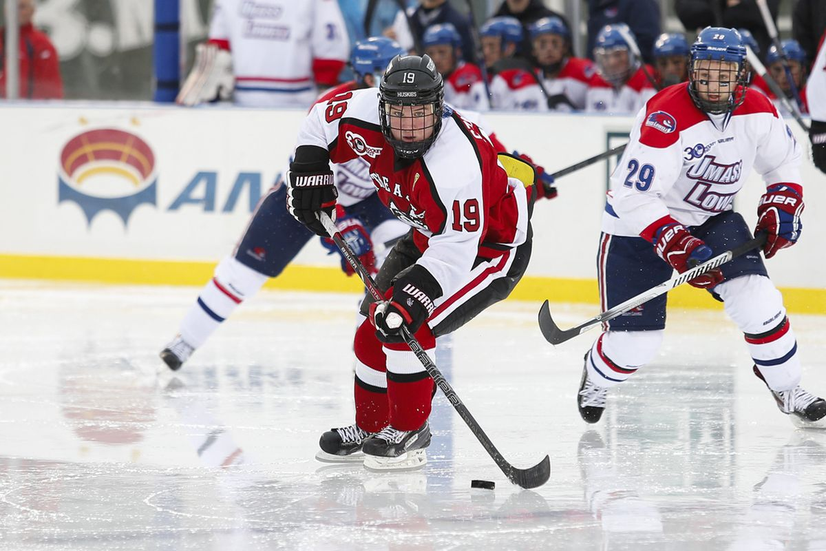 Mike Szmatula and his Northeastern teammates are still looking for their first win of the season.