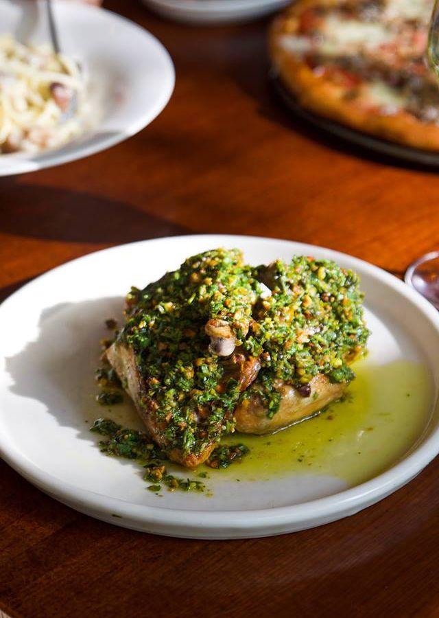 Half-chicken with pistachio pesto at Italic