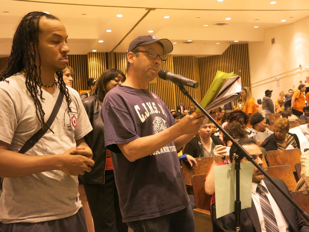 Jim Donohue, an English teacher at J.H.S. 145, testifies in opposition to a co-location plan involving Success Academy.