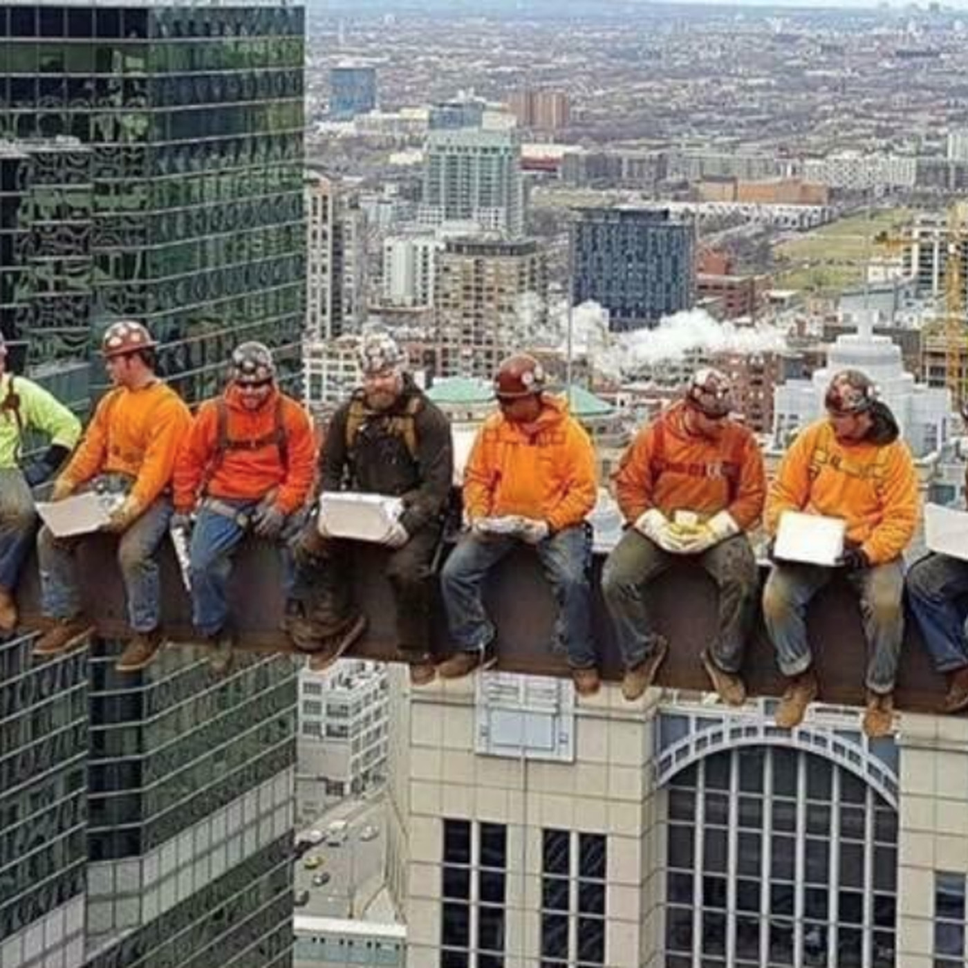 chicago iron workers recreate lunch atop a skyscraper photograph