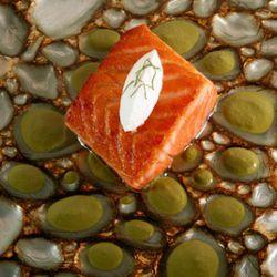 Scottish salmon set atop a glass dish by Adna of Turkey