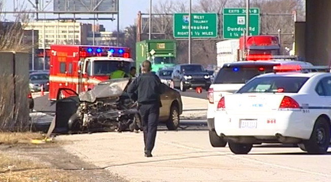 Illinois State Police investigate a single-vehicle crash on Interstate 94 at Tower Road in north suburban Glencoe. | Network Video Productions