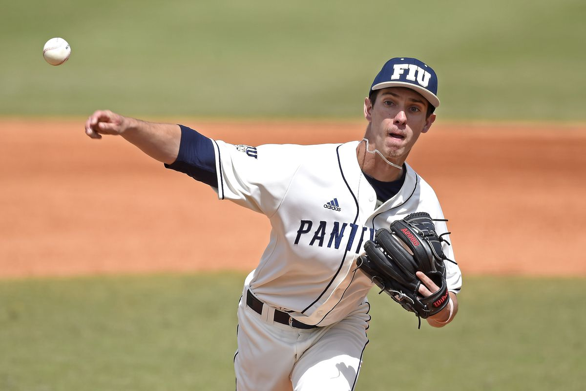 FIU pitcher Greyson Fletcher pitches in relief in the fifth inning as the Pepperdine University Waves faced the FIU Golden Panthers on March 1, 2020, at FIU Baseball Stadium in Miami, Florida.