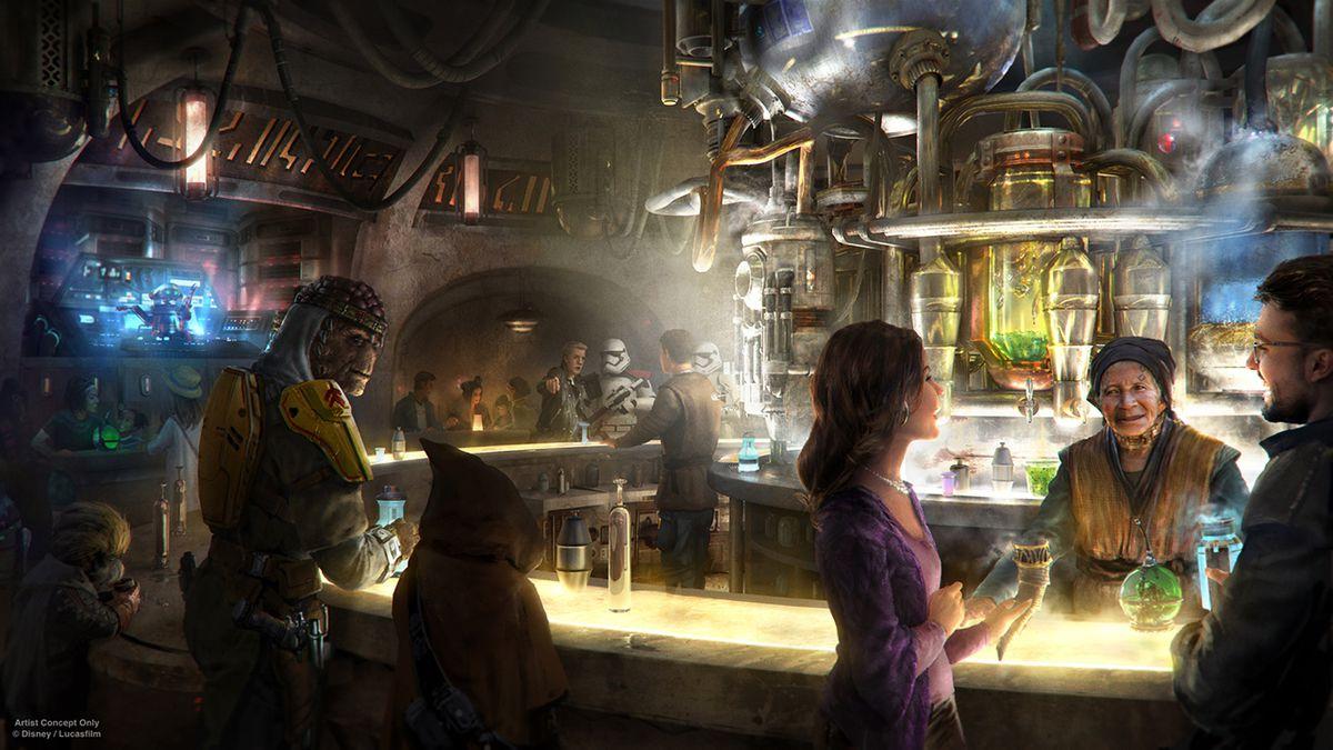 Concept art of Oga's Cantina at Star Wars Land