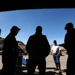 Coal miners talk during lunch at the Bronco Utah Mine near Emery on Wednesday, March 29, 2017.