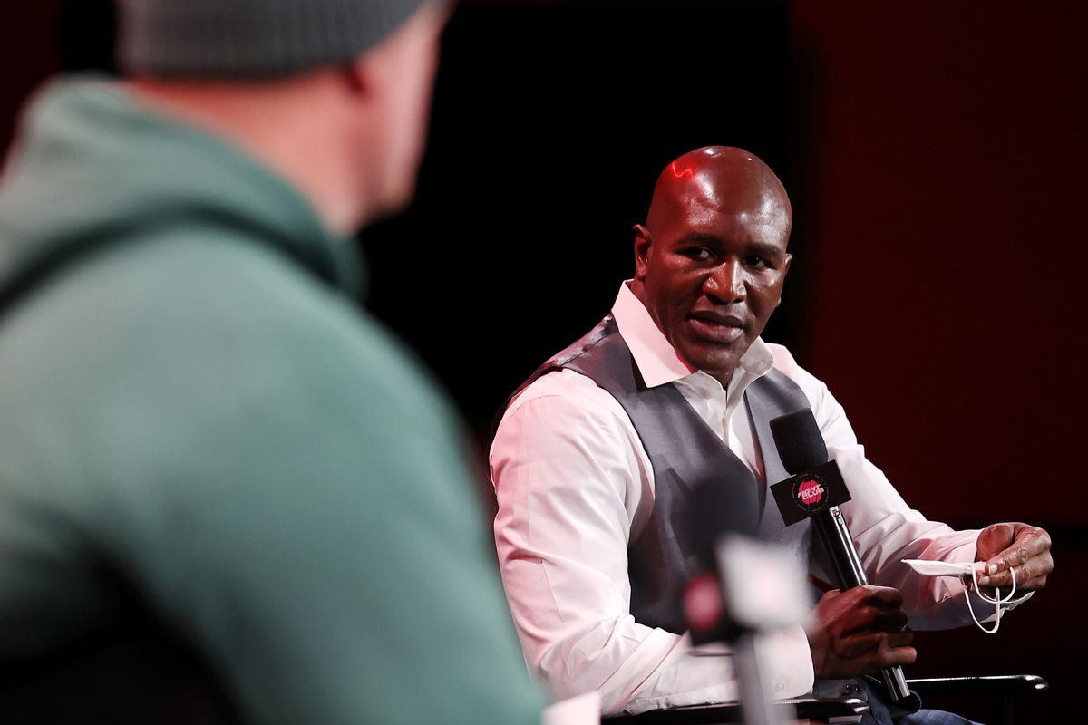Evander Holyfield at a Triller Fight Club press event.
