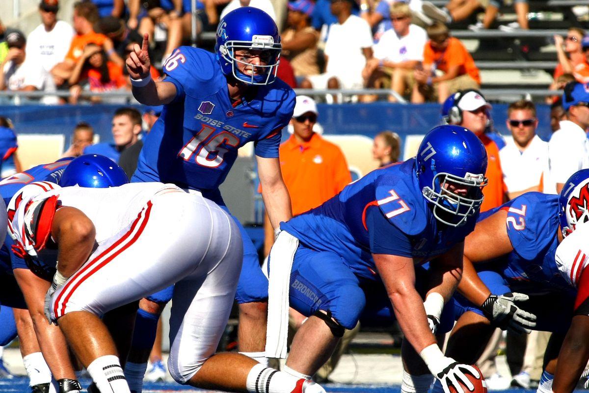 Sept.15, 2012; Boise,ID, USA; Boise State Broncos quarterback Joe Southwick (16) under center during second  half action against the Miami Redhawks at Bronco Stadium.  Mandatory Credit: Brian Losness-US PRESSWIRE