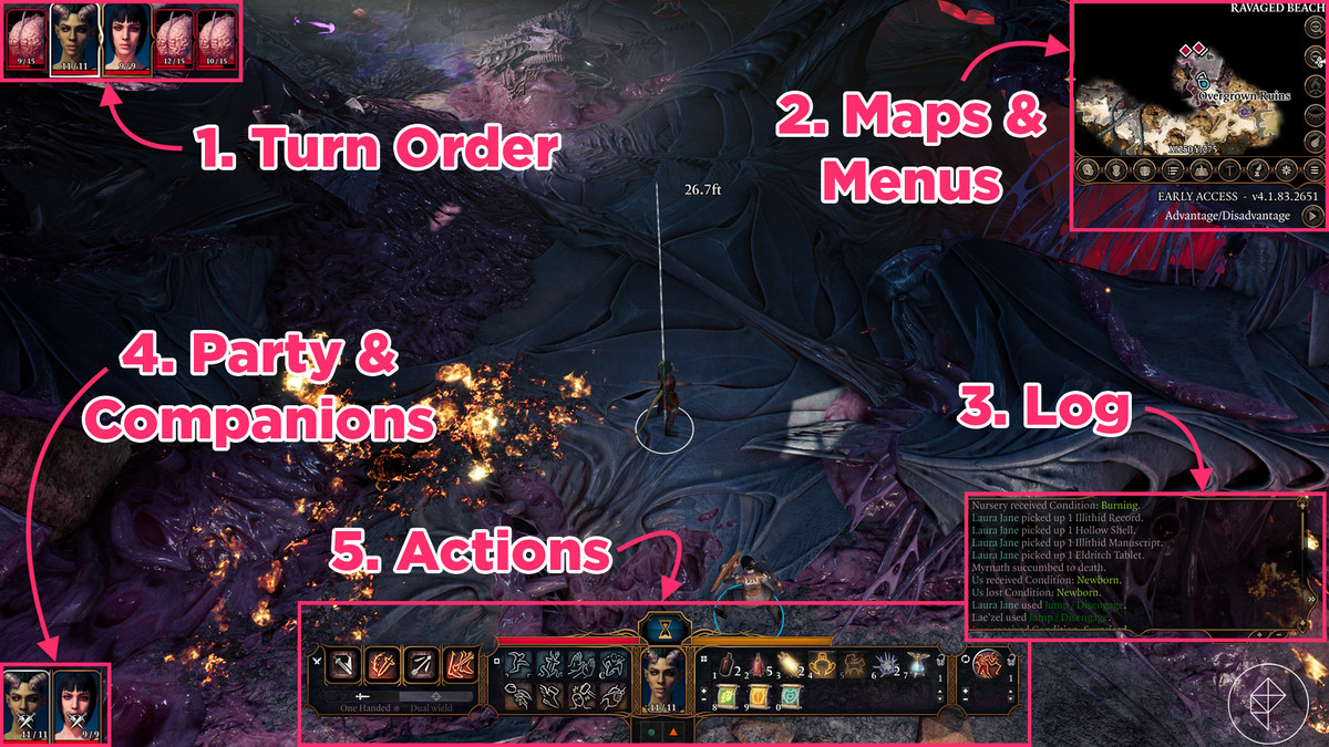 Baldur's Gate 3 guide: Understanding the interface, HUD, icons, and minimap