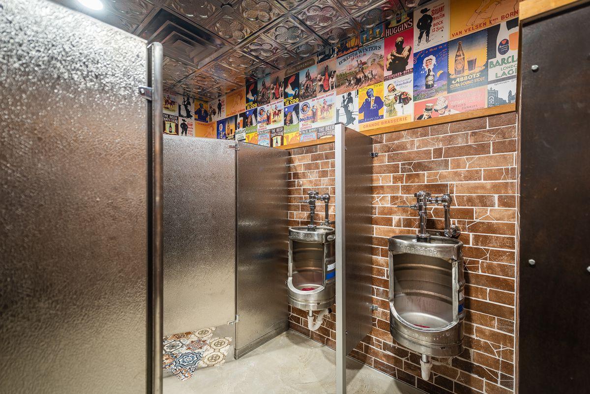 Beer keg urinals at Bronson