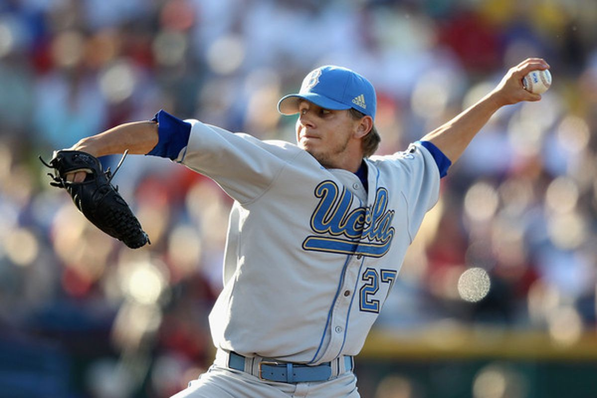 Starting pitcher Rob Rasmussen of the UCLA Bruins, drafted by the Florida Marlins in the second round of the 2010 draft. (Photo by Christian Petersen/Getty Images)