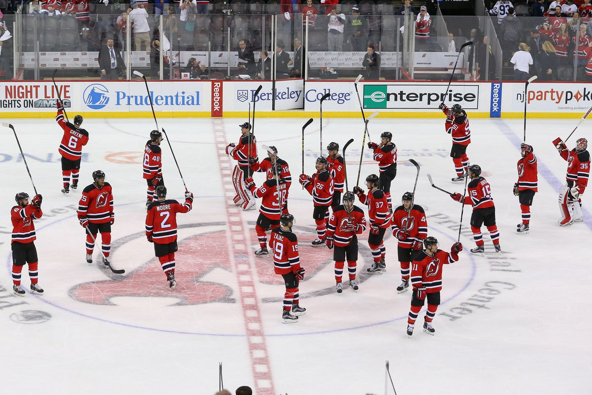 A salute to the fans by the Devils players. Tonight, the fans responded in kind.