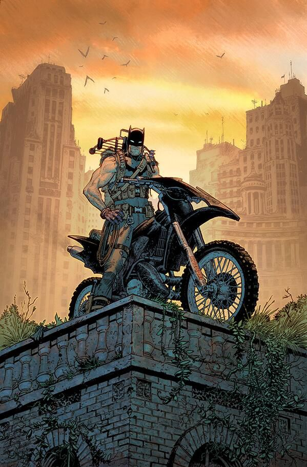 Batman, in a sleevless costume with no cape, a folded crossbow across his shoulders, sits astride a bat-motorcycle on top of a brick edifice overgrown with plants, in art from a variant cover of Batman #32, DC Comics (2014).