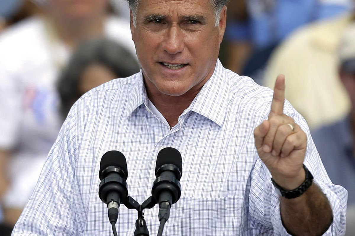 Republican presidential candidate and former Massachusetts governor Mitt Romney gestures during a campaign rally at the Ringling Museum of Art Thursday, Sept. 20, 2012, in Sarasota, Fla.