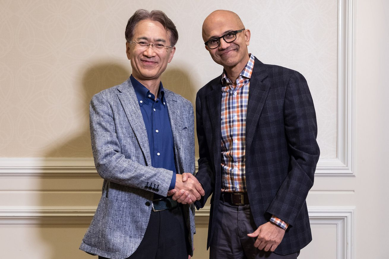 Sony CEO Kenichiro Yoshida and Microsoft CEO Satya Nadella