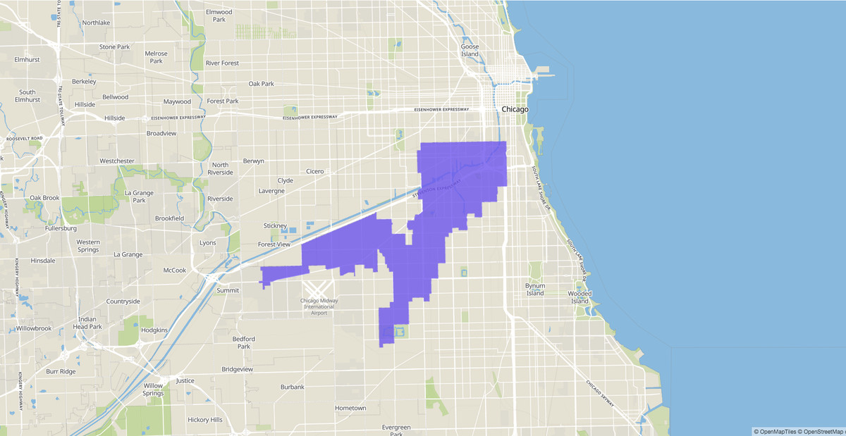 Illinois Senate 1st District map.