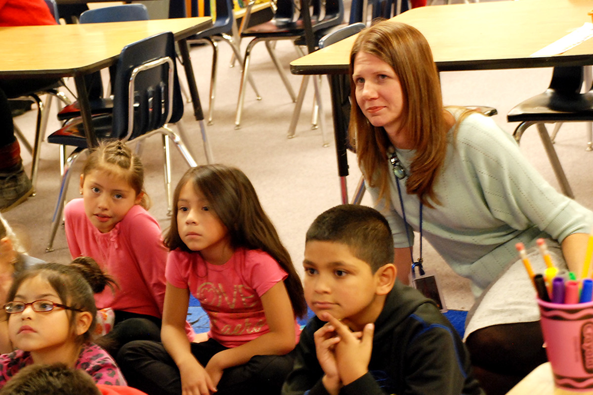 Crawford Elementary School Principal Jenny Passchier observed a writing lesson in October. Last spring she was named principal of the year by the Colorado Association of School Executives.